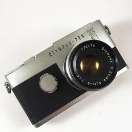 olympus pen F flash f zuiko 35mm 18x24 38mm 1.8 reflex half format demi compact analog vintage