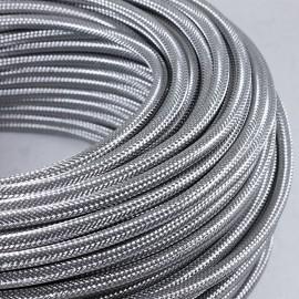 cable electrique fil textile vintage métal acier zinc argent argenté électricité rare rond