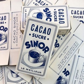 boite cacao chocolat sinor ancien emballage épicerie 1930 1940 vintage