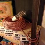 cable electrique fil textile vintage métal cuivre électricité rare rond