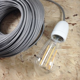 electric wire textile metal metallic electricity vintage decoration lamps lightning steel silver round