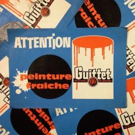 affiche affichette papier attention stop peinture fraiche guittet imprimerie ancienne vintage 1960