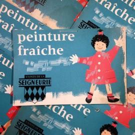 attention peinture fraiche ancien vintage papier seigneurie affiche affichette Imprimerie 1960