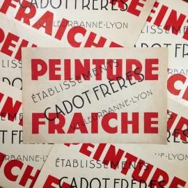 peinture fraiche attention stop affiche affichette papier cadet frères ancien vintage imprimerie 1960