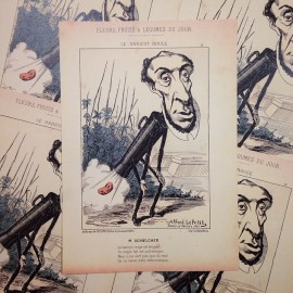 satirical drawing alfred le petit antique vintage paper illustration printer 1940 schoelcher red bean