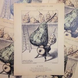 dessin satirique fruits fleurs légumes du jour ancien vintage illustration alfred le petit thiers imprimerie 1940 poire