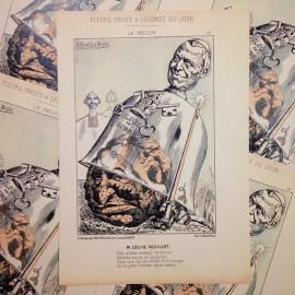 dessin satirique fruits fleurs légumes du jour ancien vintage illustration alfred le petit louis veuillot imprimerie 1940 melon