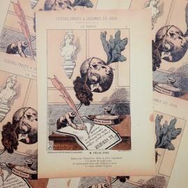 dessin satirique fruits fleurs légumes du jour ancien vintage illustration alfred le petit félix pyat imprimerie 1940 radis