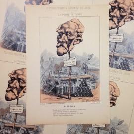 dessin satirique fruits fleurs légumes du jour ancien vintage illustration alfred le petit dorian imprimerie 1940 pomme de terre