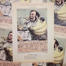 satirical drawing antique vintage paper illustration alfred le petit printer 1940 pumpkin ernest picard