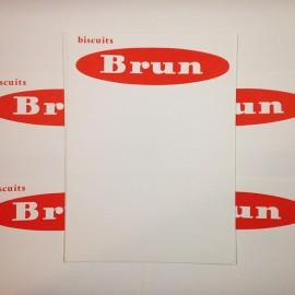 affichette réclame prix biscuits brun ancien vintage ancienne épicerie 1960 papier affiche