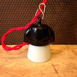douille en bakélite noire et porcelaine blanche e27 avec crochet