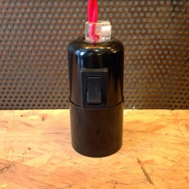 black bakelite E27 socket with push button switch on off