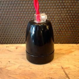douille e27 électrique porcelaine noire