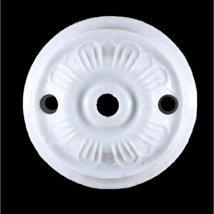 rosace céramique électricité mur plafond ancien vintage quincaillerie accessoire e27 porcelaine 65mm 6,5cm