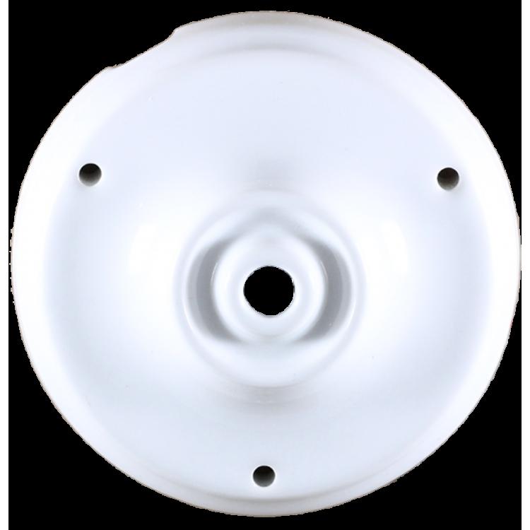 grande rosace porcelaine électricité mur plafond ancien vintage quincaillerie accessoire e27 105mm 10,5cm blanche
