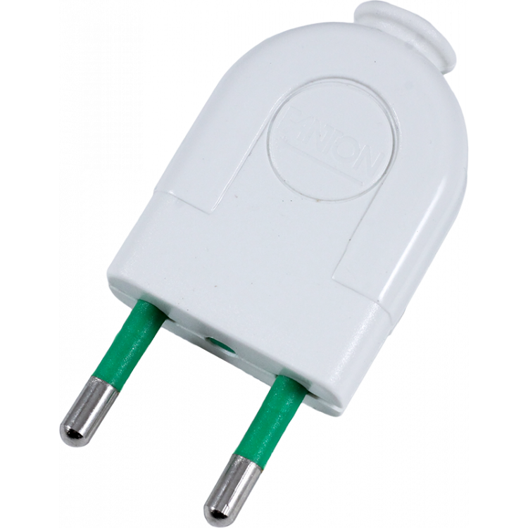 white plug in electric electricity male plastic little 2 conductors