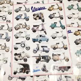 Affiche pub publicitaire scooter italie vespa ancien vintage imprimerie garage 1990