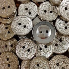 bouton croix argenté ancien vintage mercerie 1960 18mm
