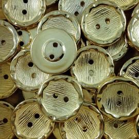golden gold button 18mm haberdashery 1960