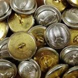 bouton militaire métal argenté laiton crs mercerie ancien vintage 1930 23mm
