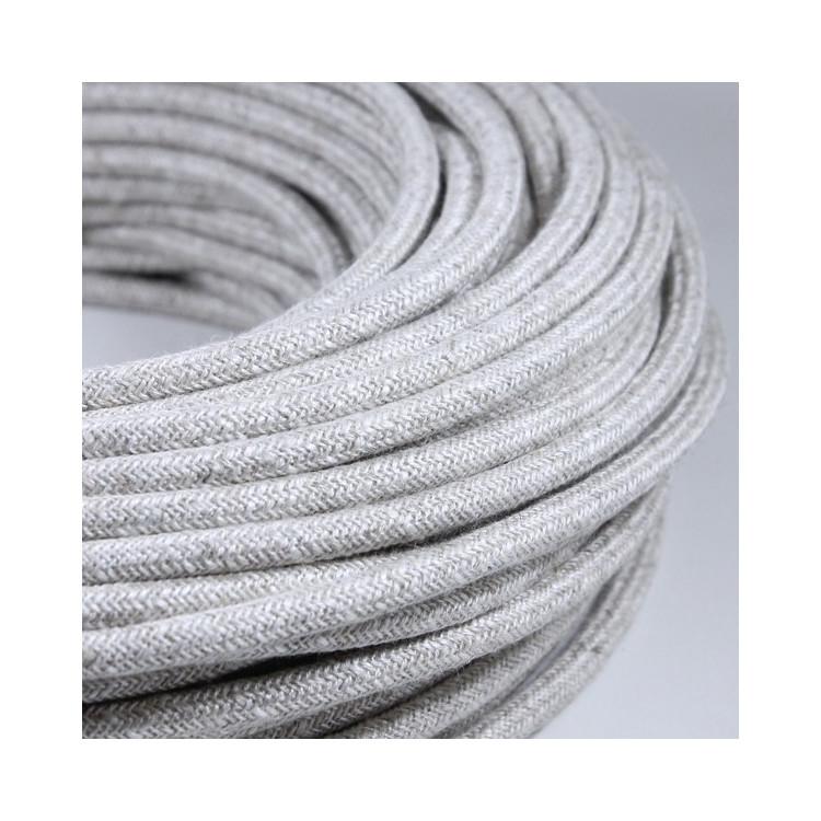 cable electrique fil textile vintage tissu chanvre rond