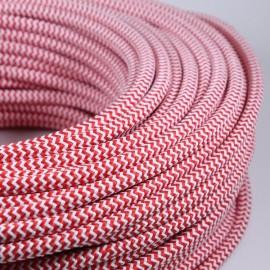 cable electrique fil textile vintage tissu chevron rouge blanc rond