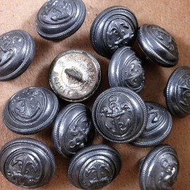 bouton militaire métal marine marin supérieur france mercerie ancien vintage 1930 15mm