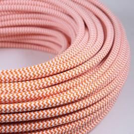 cable electrique fil textile vintage tissu chevron orange blanc rond