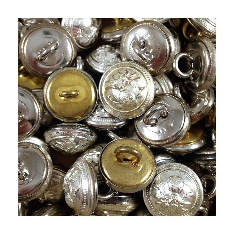 bouton métal laiton douane française mercerie militaire vintage ancienne 1930 15mm