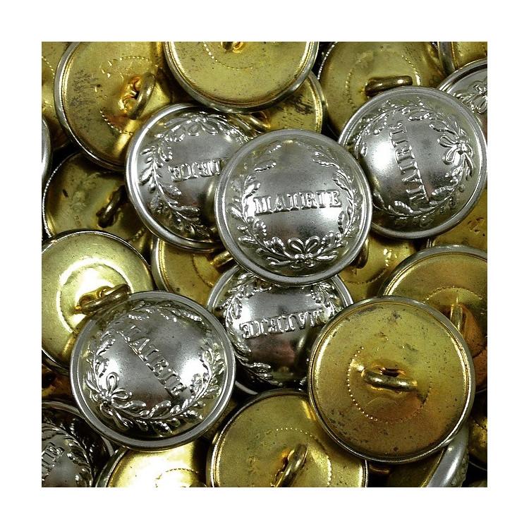 bouton metal laiton mercerie militaire mairie vintage antique 1930 21mm