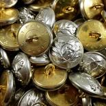 bouton laiton plaqué argent militaire police ancien vintage mercerie 1930 21mm