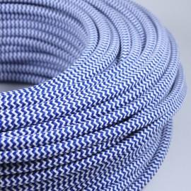cable electrique fil textile vintage tissu chevron bleu blanc rond