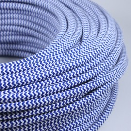 electric colored wire textile fabric electricity vintage decoration lamps lightning chevron blue white round color