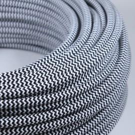 cable electrique fil textile vintage tissu chevron noir blanc rond