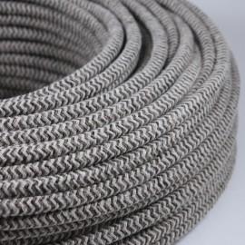 cable electrique fil textile vintage tissu chevron sable rond