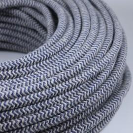 cable electrique fil textile vintage tissu chevron chanvre bleu rond