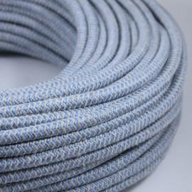 cable electrique vintage textile tissu électricité chevron chanvre et bleu clair rond