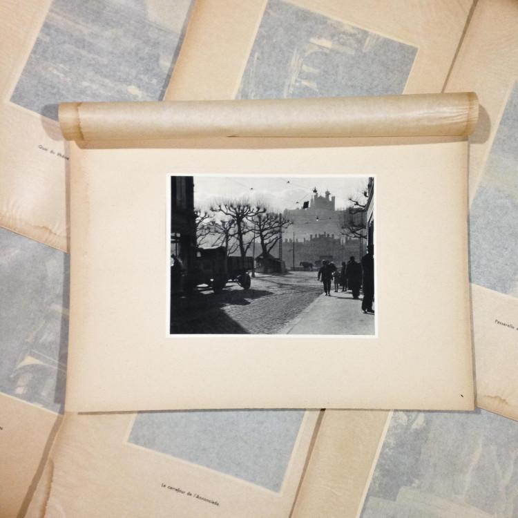 quai st antoine gravure héliogravure ancien blanc et demilly noir et blanc lyon papier 1930 bouquiniste