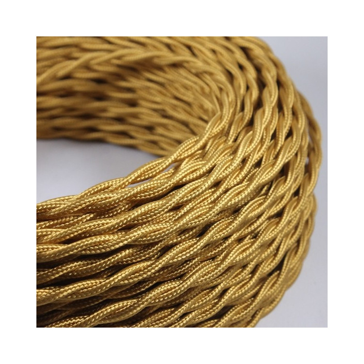 electric wire textile fabric electricity vintage decoration lamps lightning yellow old gold golden twisted