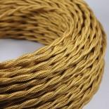 cable electrique fil textile vintage tissu jaune vieil or doré torsadé
