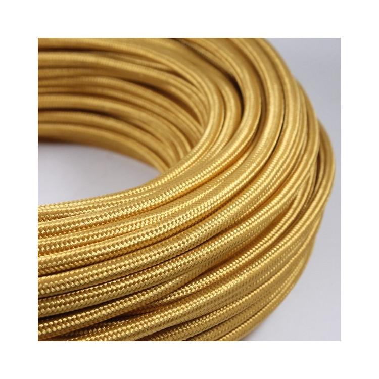 cable electrique fil textile vintage tissu jaune vieil or doré rond