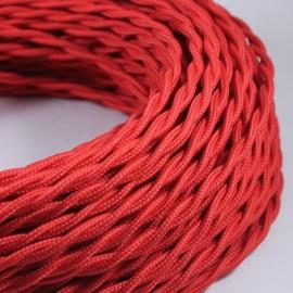 cable electrique couleur fil textile vintage tissu rouge torsadé coloré lampe luminaire