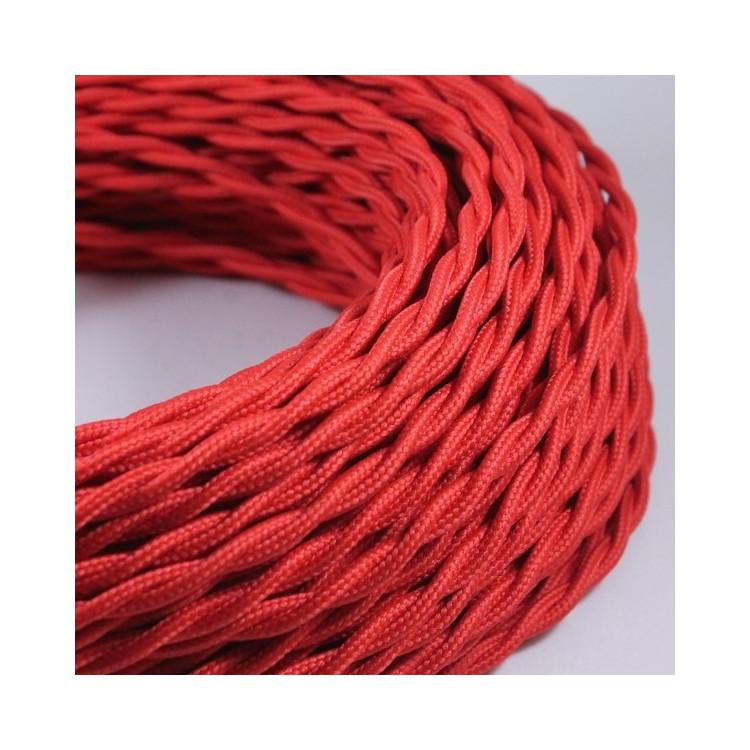 cable electrique fil textile vintage tissu rouge torsadé