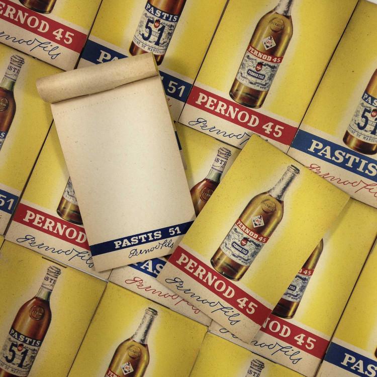 bloc notes papier pernod pastis ancien vintage bar bistrot 1950