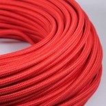 cable electrique fil textile vintage tissu rouge rond