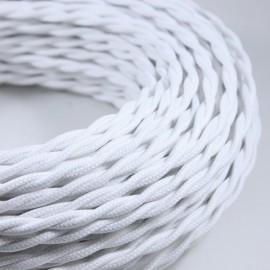 cable electrique fil textile vintage tissu blanc torsadé