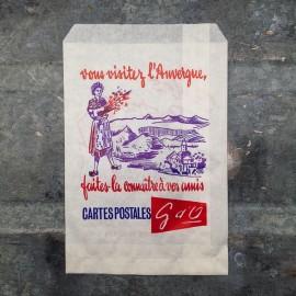 postal card paper bag vintage antique old 1960 1966 french auvergne france