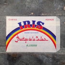 sachet ancien carte postale emballage papier vintage 1960 1966 iris prestige de la couleur la cigogne