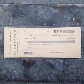 Paper bill of carpenter antique old 1920 vintage h reynaud